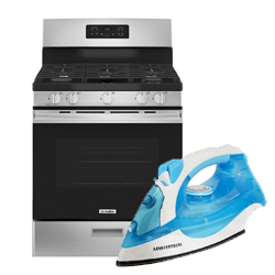 322114+5010AE_Mabe 30in Stove + Mastertech Steam Iron